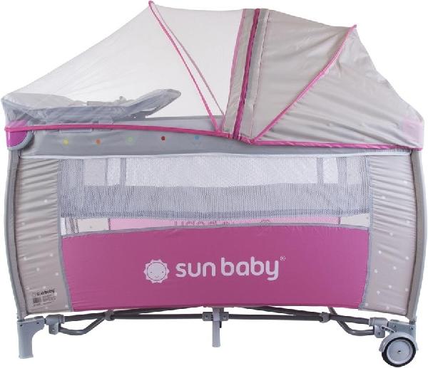 Sun Baby multifunkciós rezgő-zenélő-világító utazóágy Pink