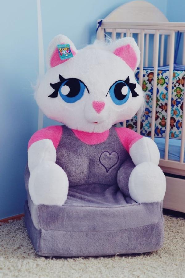 Baby kinyitható figurás fotel szürke cica