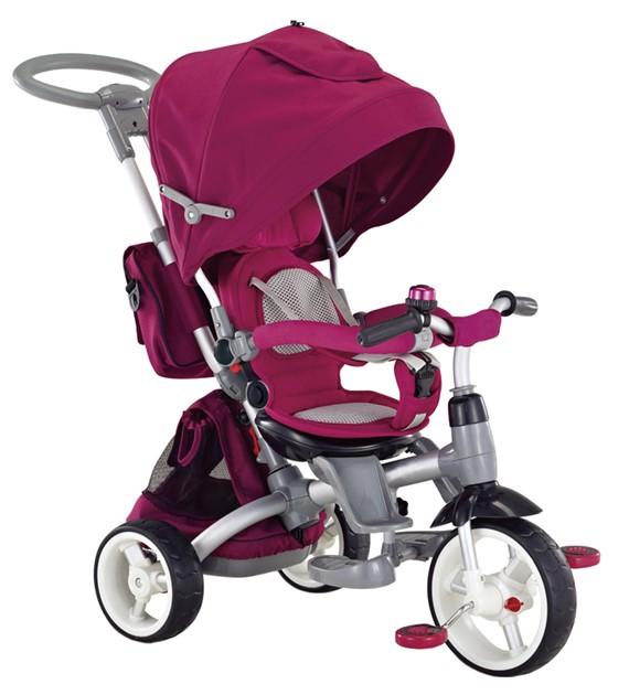 Little Tiger Luxus szülőkormányos tricikli Pink forgatható és dönthető üléssel
