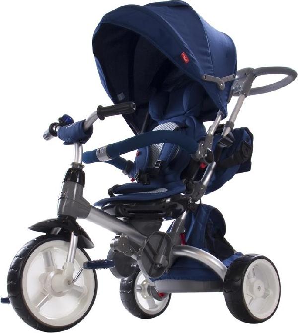 Little Tiger Luxus szülőkormányos tricikli Blue forgatható, dönthető üléssel