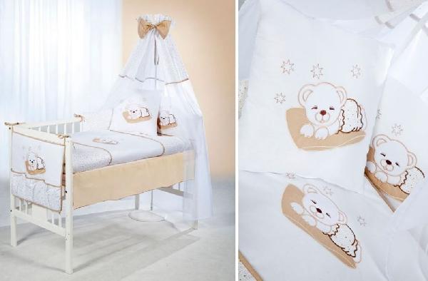 Klups 6 részes ágynemű -  bézs Álmos macis