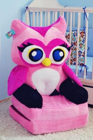 Baby kinyitható figurás fotel rózsaszín bagoly