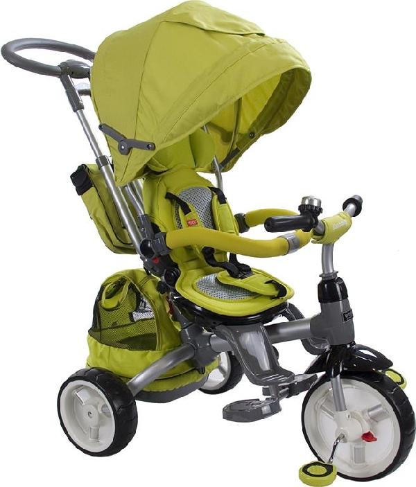 Little Tiger Luxus szülőkormányos 4in1  tricikli Green forgatható, dönthető üléssel