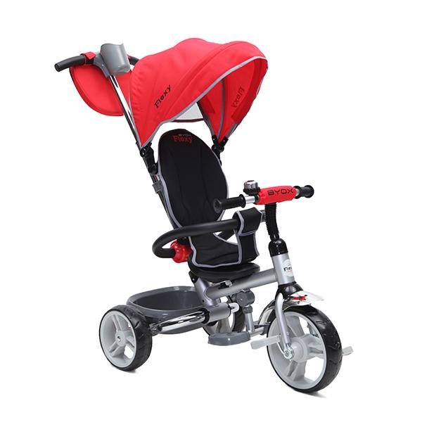 BYOX FLEXY  szülőkormányos gyerek tricikli Red. Összecsukható vázzal