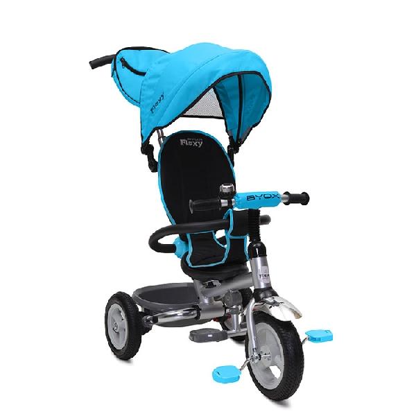 BYOX FLEXY PLUS szülőkormányos tricikli pumpás gumi kerékkel Blue, Összecsukható vázzal