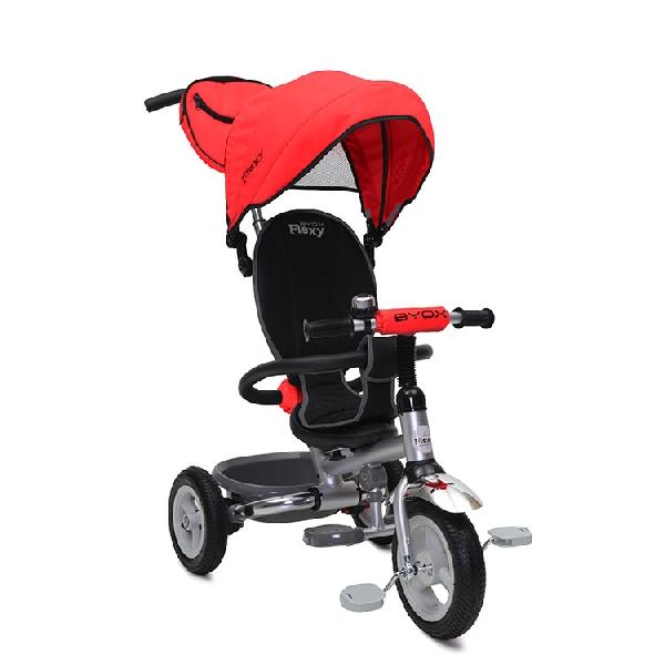 BYOX FLEXY PLUS szülőkormányos tricikli pumpás gumi kerékkel Red, Összecsukható vázzal