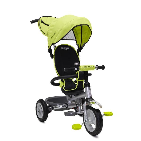 BYOX FLEXY PLUS szülőkormányos tricikli pumpás gumi kerékkel Green, Összecsukható vázzal