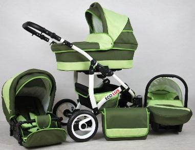 Eco Lux 3:1-ben újszülött babakocsi zöld