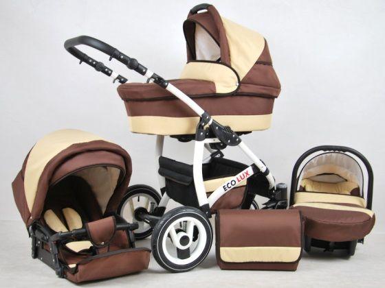 8f6cd36bf Eco Lux 3:1-ben újszülött babakocsi : Tartozékai (mozes, sport és  autóshordozó) külön-külön, egy mozdulattal helyezhetők fel a vázra.