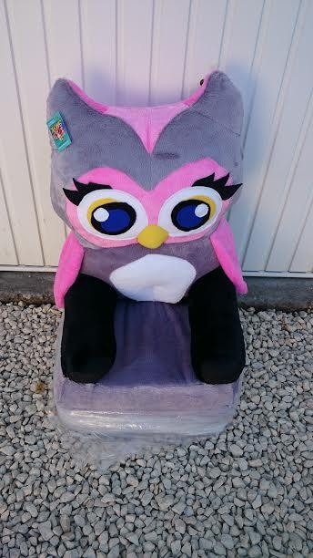 Kinyitható figurás gyerek fotel szürke-rózsaszín bagoly