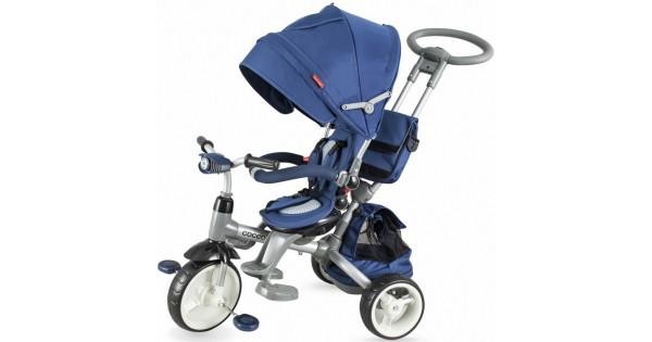 COCCOLLE MODI Luxus szülőkormányos tricikli BLUE forgatható és dönthető üléssel