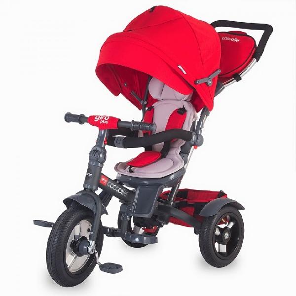 COCCOLLE GIRO PLUS RED szülőkormányos tricikli,   Forgatható, dönthető üléspozícióval, pumpás gumi kerékkel
