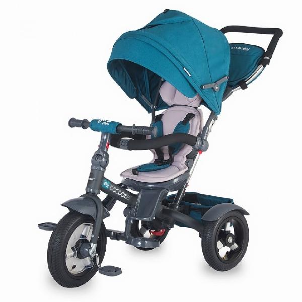 COCCOLLE GIRO PLUS BLUE szülőkormányos tricikli,   Forgatható, dönthető üléspozícióval, pumpás gumi kerékkel