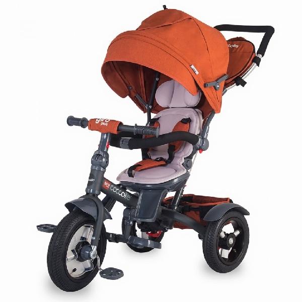 COCCOLLE GIRO PLUS CARAMELL szülőkormányos tricikli   Forgatható, dönthető üléspozícióval, pumpás gumi kerékkel