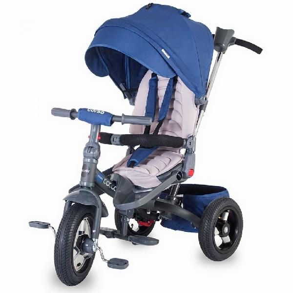 COCCOLLE CORSO BLUE szülőkormányos tricikli   Forgatható, dönthető üléspozícióval