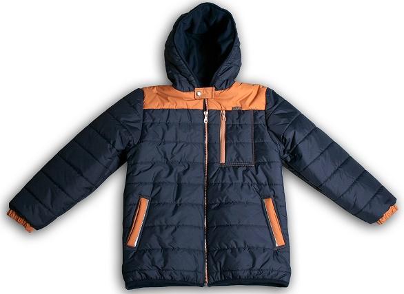 Mikka fiú téli kabát sötétkék-mustár 116