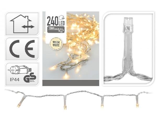 240 LEDes extra melegfehér égősor kül- és beltéri használatra 19 méter