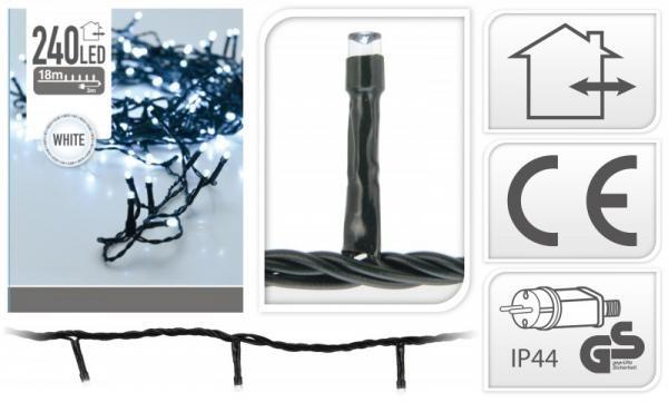 240 LEDes extra hidegfehér égősor kül- és beltéri használatra 19 méter