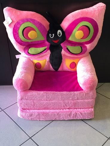Kinyitható figurás plüss nagyméretű fotel Rózsaszín pillangós