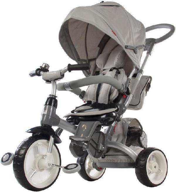 Little Tiger Luxus szülőkormányos tricikli Grey forgatható és dönthető üléssel