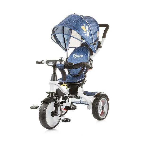 Chipolino Rapido szülőkormányos tricikli kupolával - Blue Indigo