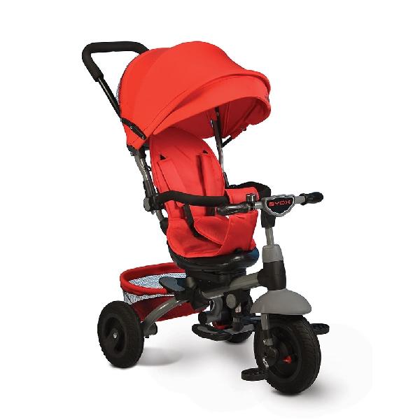 Byox King szülőkormányos tricikli Red  Forgatható, dönthető üléspozícióval, gumi kerékkel, ledes világítással