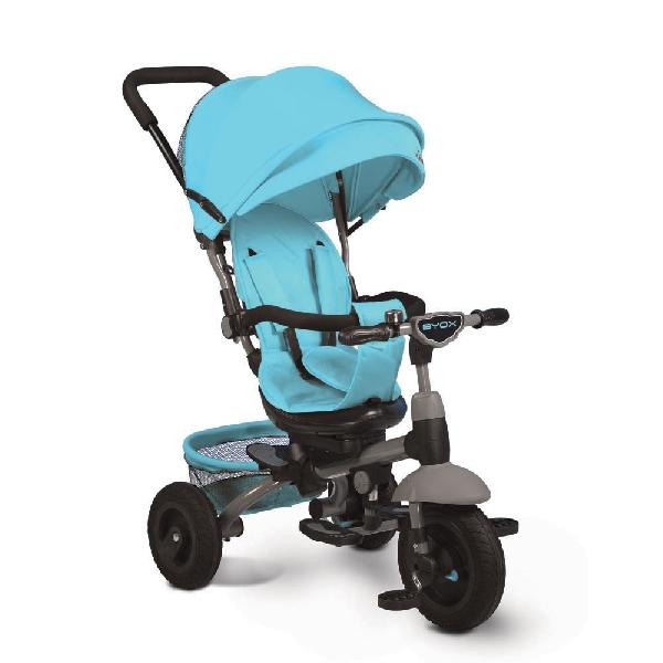 Byox King szülőkormányos tricikli Blue  Forgatható, dönthető üléspozícióval, gumi kerékkel, ledes világítással