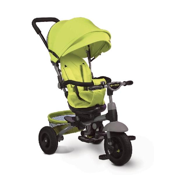 Byox King szülőkormányos tricikli Green Forgatható, dönthető üléspozícióval, gumi kerékkel, ledes világítással