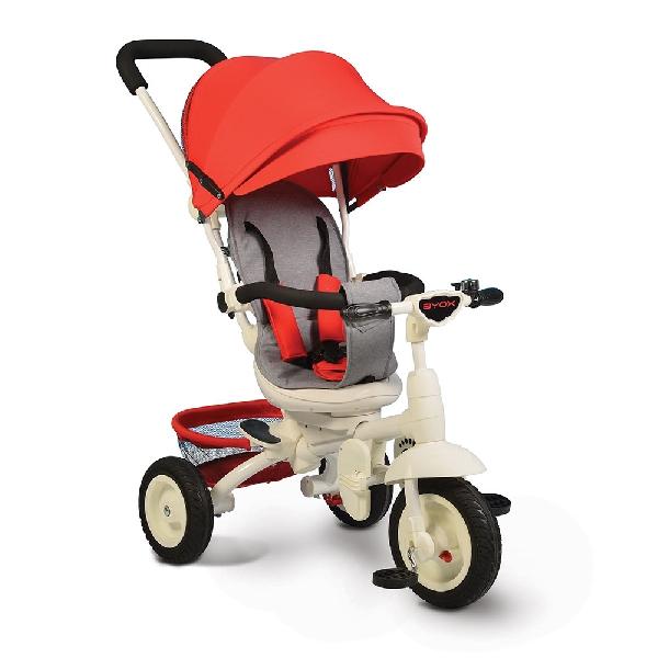 Byox Queen  szülőkormányos tricikli Red  Forgatható, dönthető üléspozícióval, gumi kerékkel, ledes világítással
