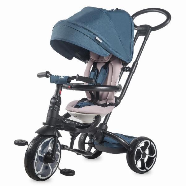 COCCOLLE MODI PLUS Luxus szülőkormányos tricikli Blue forgatható és dönthető üléssel