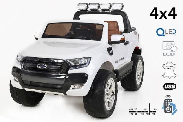 FORD RANGER Wildtrak Luxury 2 személyes Elektromos kisautó 4x4, 2x12 volt,  fehér, bőr ülés, indítókulcs,  LCD kijelző,