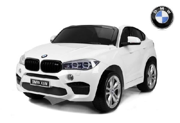Elektromos kisautó BMW X6 M, 2 személyes, 12V, 2,4 GHz távirányító, elektromos fék, nyitható ajtók, EVA kerekek, bőr ülés, 2 X MOTOR, fehér , Eredeti Liszensz