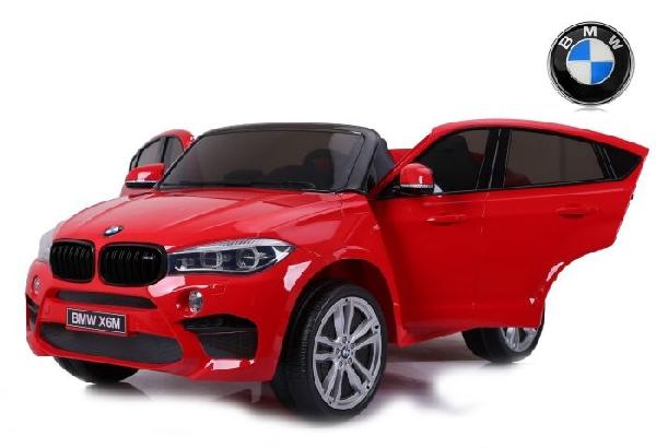 Elektromos kisautó BMW X6 M, 2 személyes, 12V, 2,4 GHz távirányító, elektromos fék, nyitható ajtók, EVA kerekek, bőr ülés, 2 X MOTOR, piros , Eredeti Liszensz