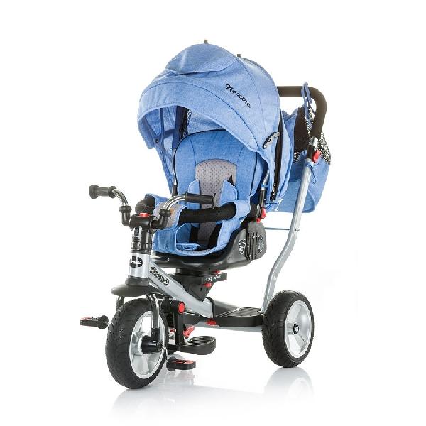 CHIPOLINO NEXTRO BLUE TRICIKLI  dönthető és forgatható üléspozícióval, gumi kerékkel