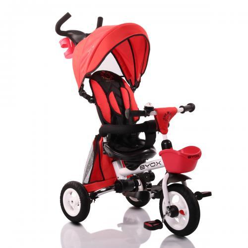 BYOX FLEXY LUX  Red szülőkormányos tricikli   Forgatható, dönthető üléspozíció, összecsukható váz, gumi kerék,