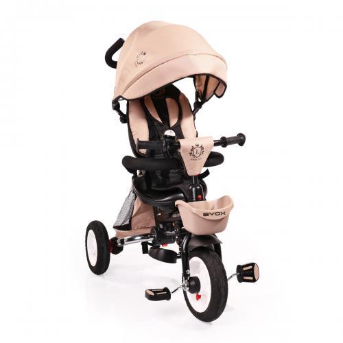 BYOX FLEXY LUX Beige összecsukható  tricikli   Forgatható, dönthető üléspozíció, összecsukható váz, gumi kerék,