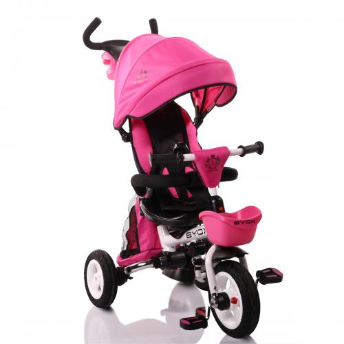 BYOX FLEXY LUX  Pink szülőkormányos tricikli   Forgatható, dönthető üléspozíció, összecsukható váz, gumi kerék,