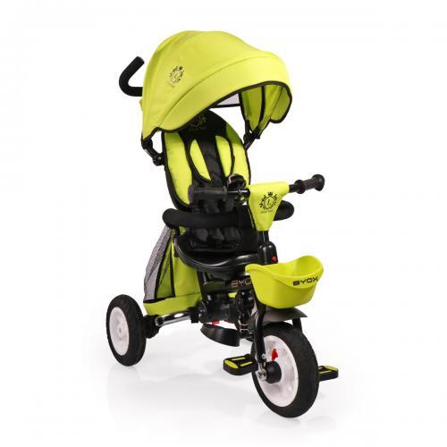 BYOX FLEXY LUX  Green szülőkormányos tricikli   Forgatható, dönthető üléspozíció, összecsukható váz, gumi kerék