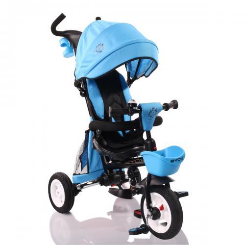 BYOX FLEXY LUX  Blue  szülőkormányos tricikli   Forgatható, dönthető üléspozíció, összecsukható váz, gumi kerék