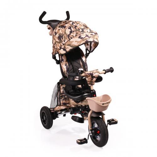 BYOX FLEXY LUX  Military  szülőkormányos tricikli   Forgatható, dönthető üléspozíció, összecsukható váz, gumi kerék
