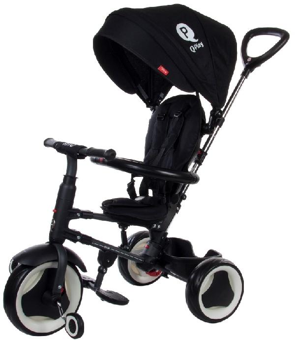 QPLAY RITO Szülőkormányos tricikli Black  EVA polimer kerékkel, összecsukható vázzal