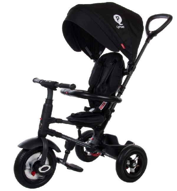 QPLAY RITO Szülőkormányos tricikli Black pumpás gumi kerékkel, összecsukható vázzal