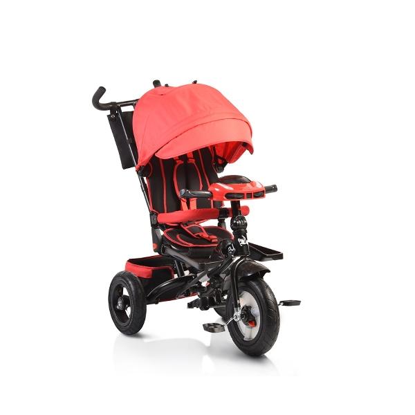 Byox Jockey 2018 red szülőkormányos tricikli Forgatható, dönthető üléspozícióval, pumpás gumi kerékkel