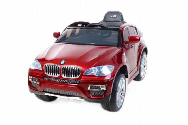 BMW X6 Red  elektromos kisautó 2 sebesség,  nyitható ajtókkal, lakkozott kivitel, hímzett bőrülés,