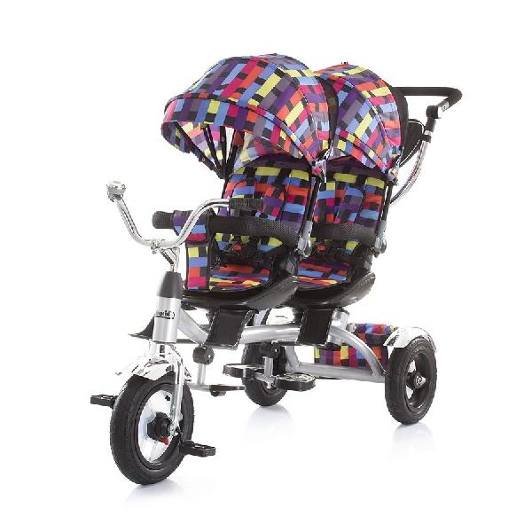 Chipolino Tandem ikertricikli szülőkormányos irányítás, pumpás gumi kerékkel, Multi color