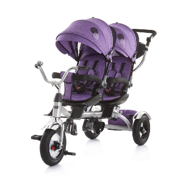 Chipolino Tandem ikertricikli szülőkormányos irányítás, pumpás gumi kerékkel, Purple