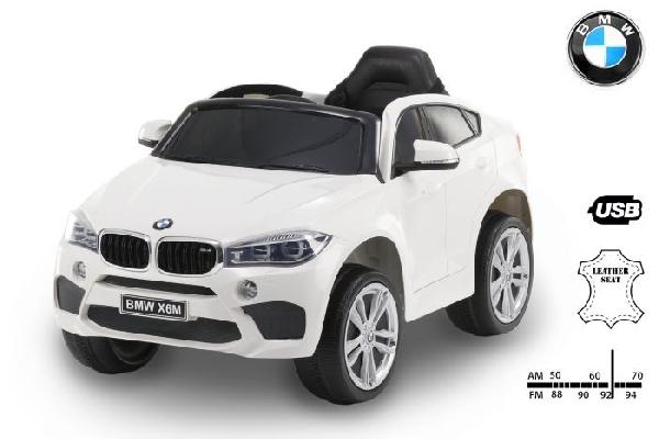 BMW X6M Új  White  elektromos kisautó 2 sebesség,  nyitható ajtókkal,  bőrülés, gumi kerékkel