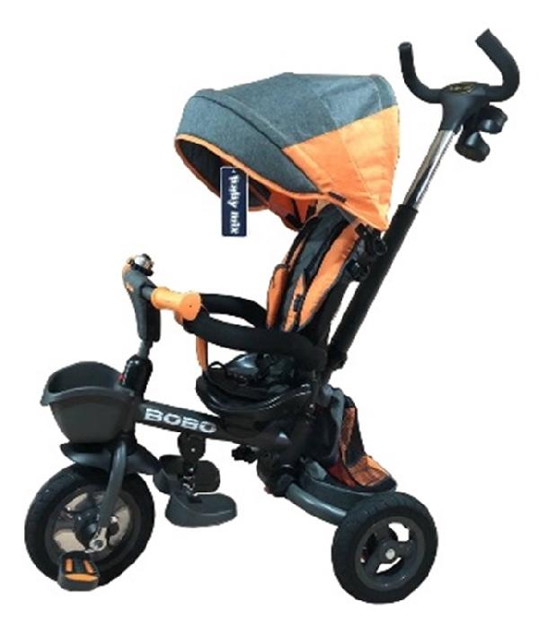 BOBO LUX  GREY szülőkormányos tricikli   Forgatható, dönthető üléspozíció, összecsukható váz, gumi kerék,