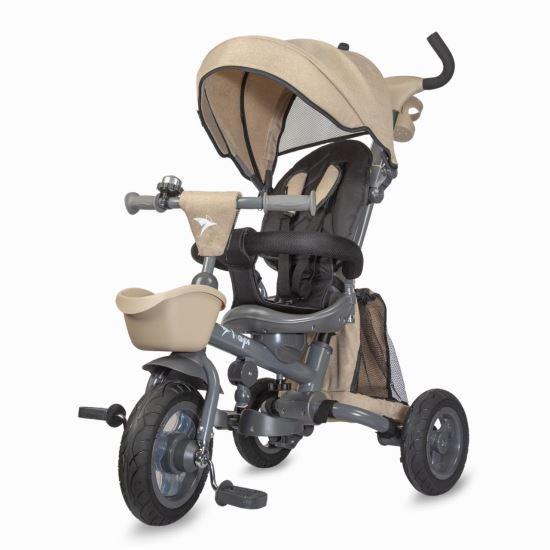 NEO LUX  szülőkormányos tricikli beige  Forgatható, dönthető üléspozíció, összecsukható váz, gumi kerék,