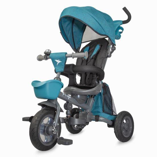 NEO LUX  szülőkormányos tricikli blue  Forgatható, dönthető üléspozíció, összecsukható váz, gumi kerék,